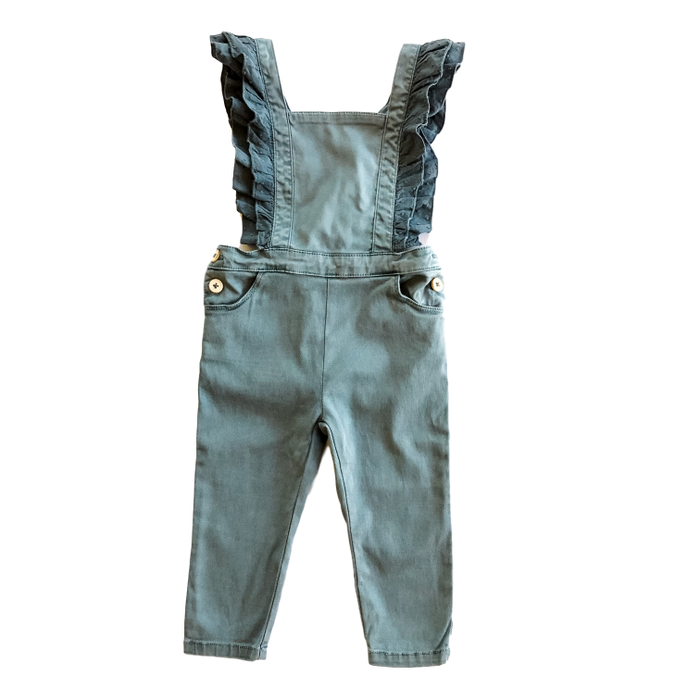 Blue Ruffled Overalls