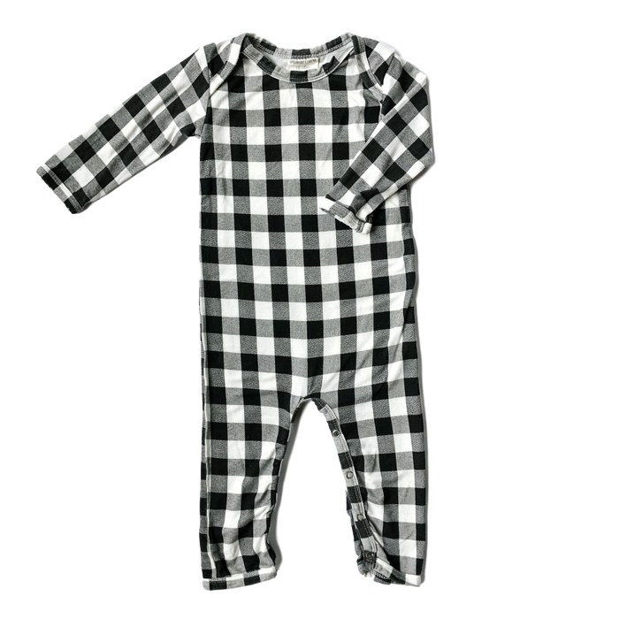 Long Sleeve Black Plaid Jumpsuit