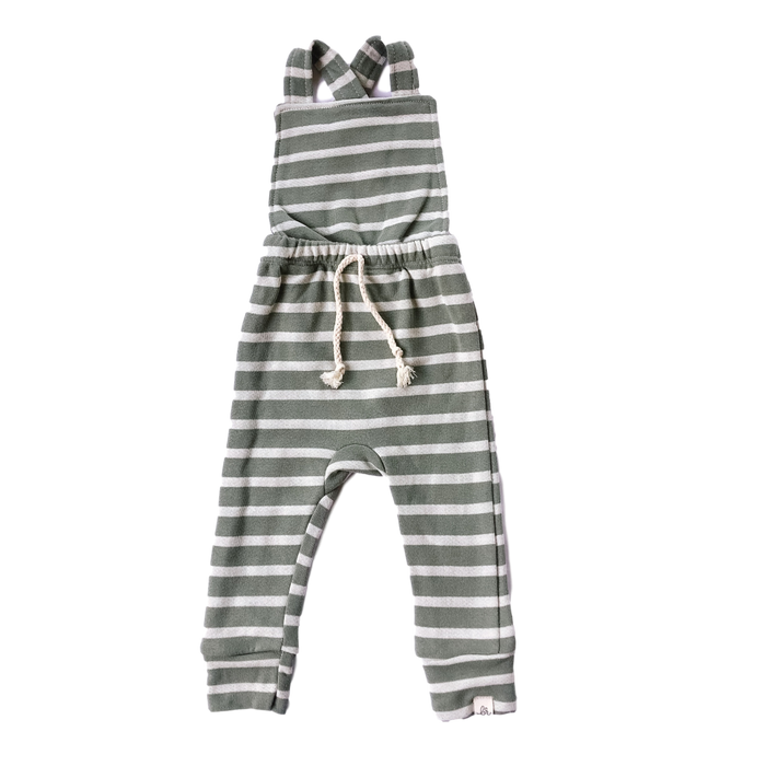 Green Striped Cross Back Overalls