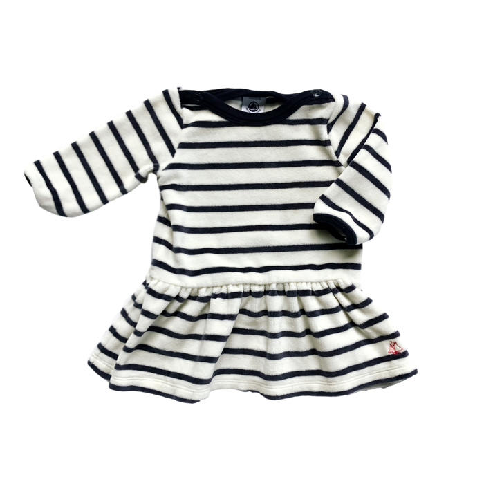 Long Sleeve Striped Terrycloth Dress