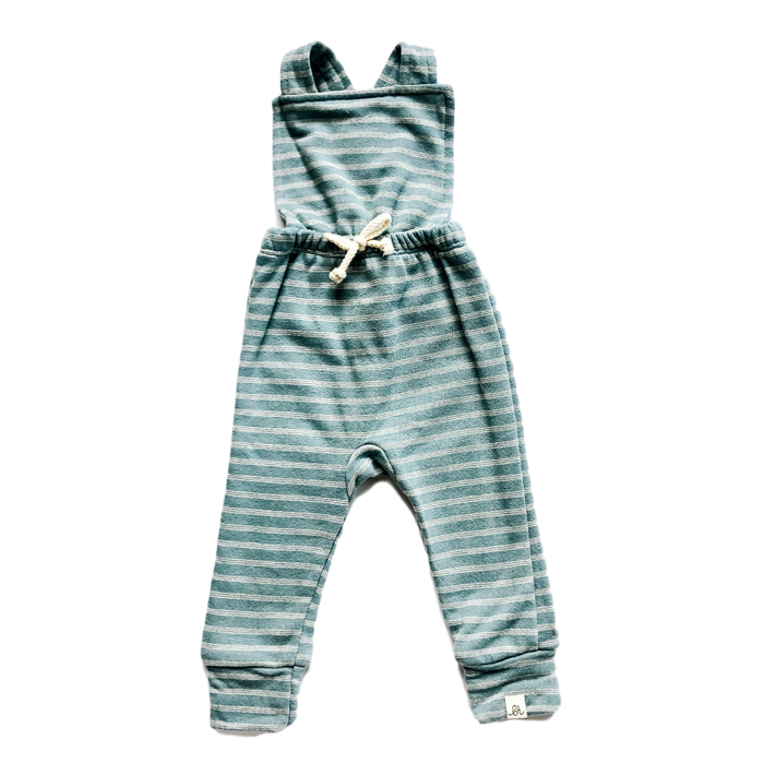 Blue Striped Cross Back Overalls