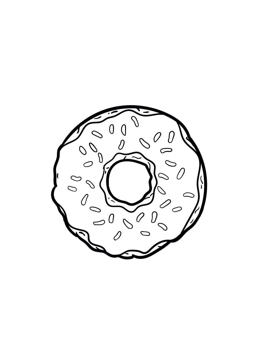 Dessin au trait noir du donut authentique de la série Simpson.