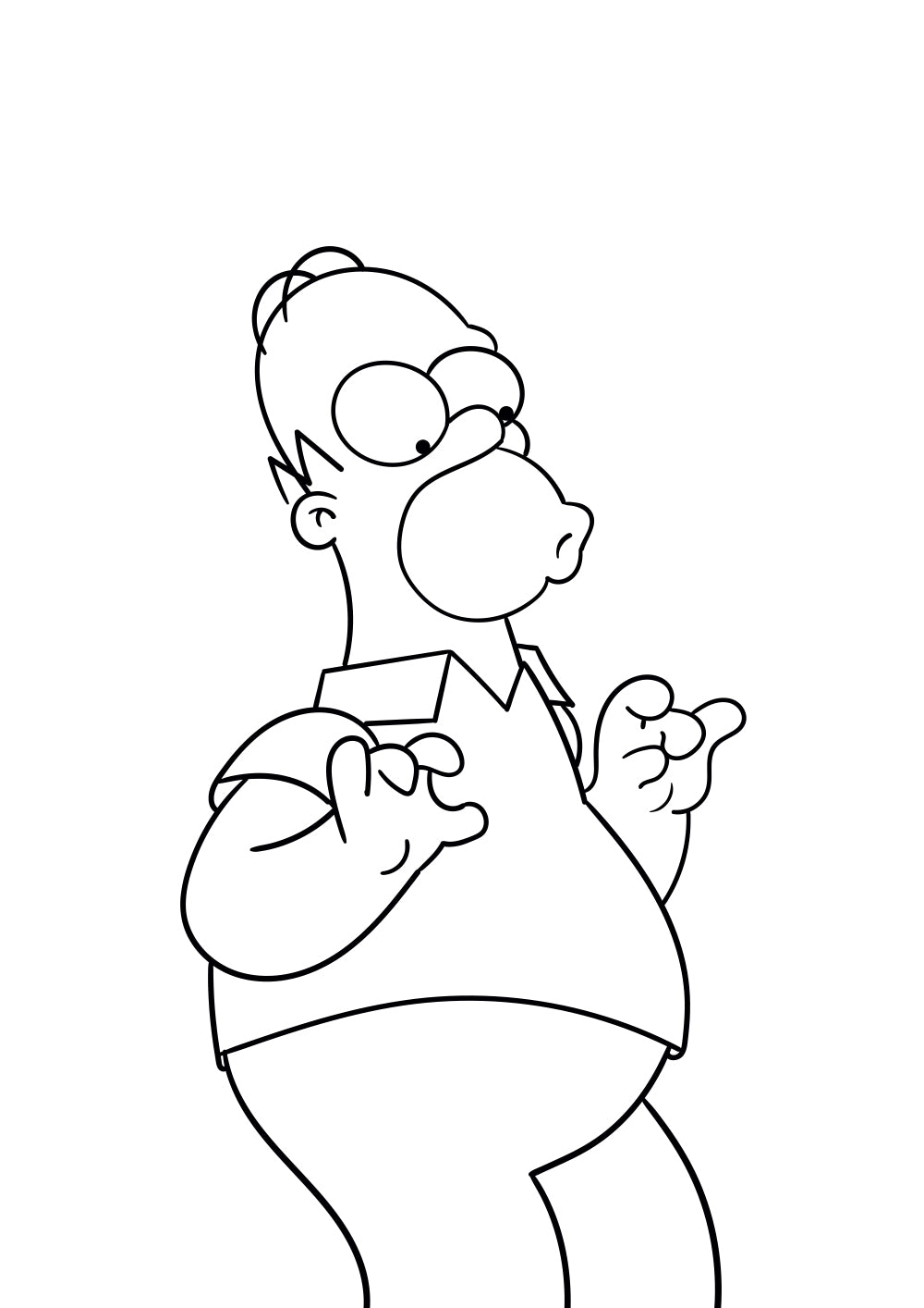 Dessin au trait noir d'Homer Simpson impatient.