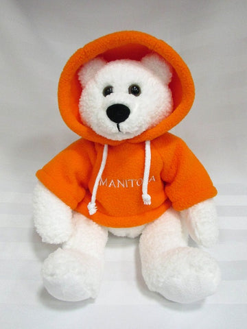 Polar Bear with Orange Hoodie | Ours polaire avec capuche - Orange