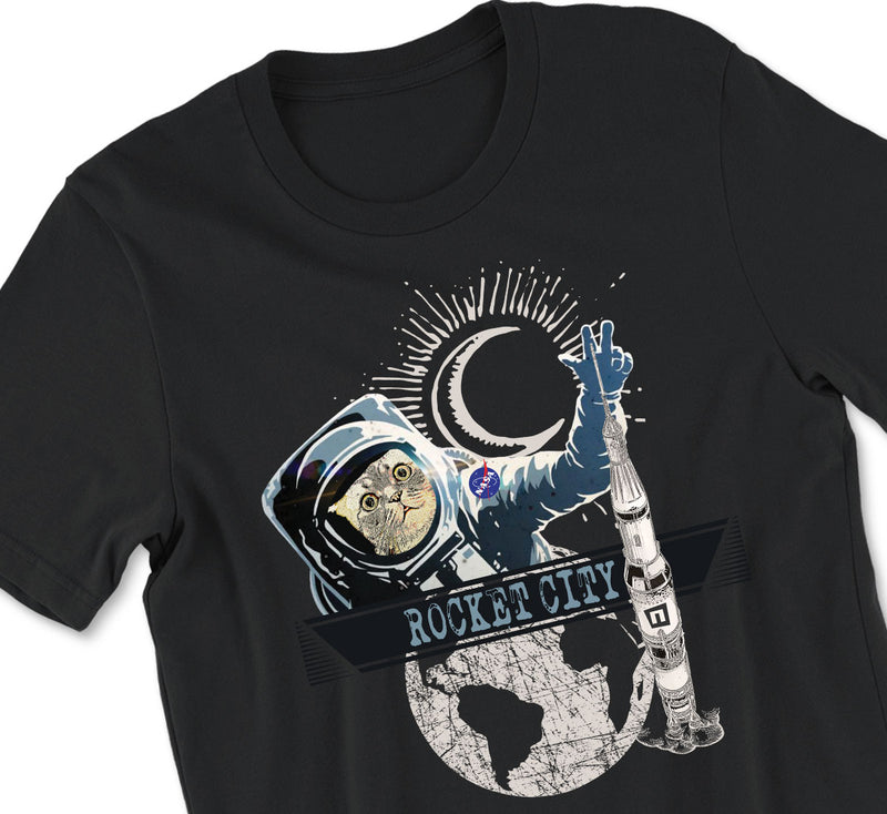 Astro Kitty, Rocket City Tshirt - MSFC