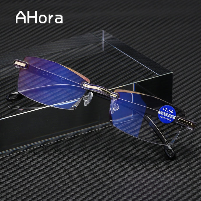 Ahora Anti Blue Light Blocking Rimless Reading Glasses Women Men Square Frameless Presbyopic Glasses Diopters +1.0 1.5 2 2.5 4.0 - Yard Agri Supply