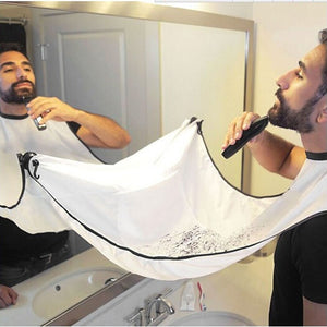 Pongee Beard Shave Apron Bib Trimmer Razor Holder Rack Hair Shave Apron Shaving Shaver Holder Bathroom Organizer Gift for Man
