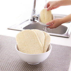 3pcs/set Natural Loofah Dishwashing Cloth Scrub Pad Dish Bowl Pot Easy To Clean Scrubber Sponge Kitchen Clean Brushes Scrub Pad