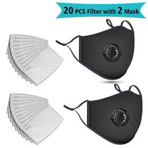 20 PCS Filter Fashion Washable Reusable Mask Anti Pollution Mouth Respirator Dust Masks Cotton Unisex Mouth Muffle Black