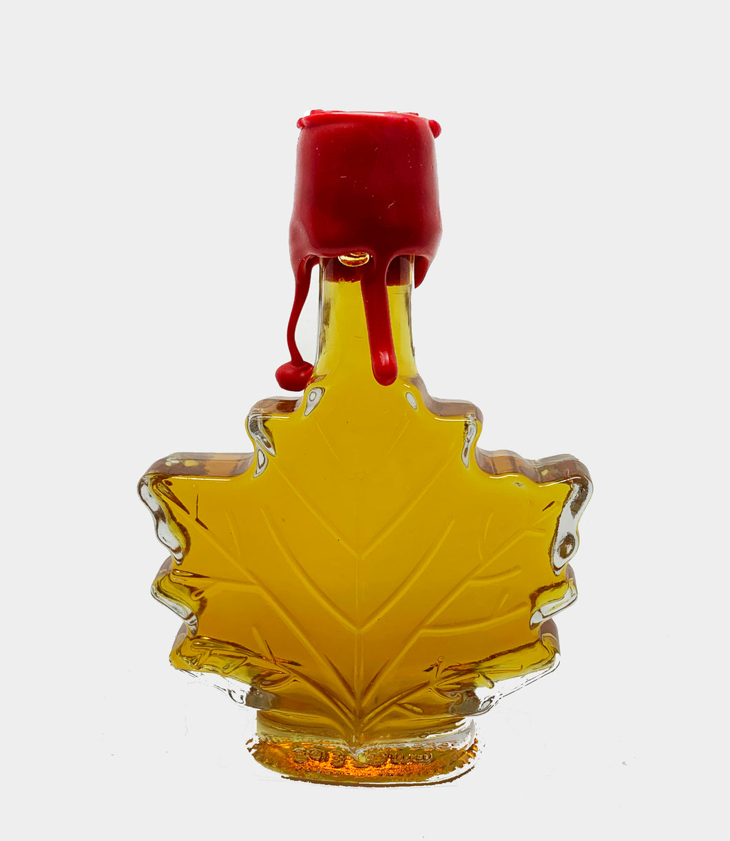 Muskoka Lodge Maple Syrup Grade A Amber - Rich Taste Glass Leaf Bottle - 100ml