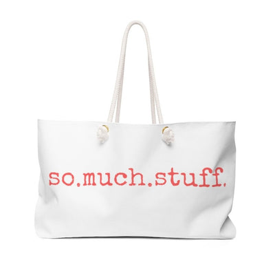 White tote bag with So.Much.Stuff. written in coral colored text