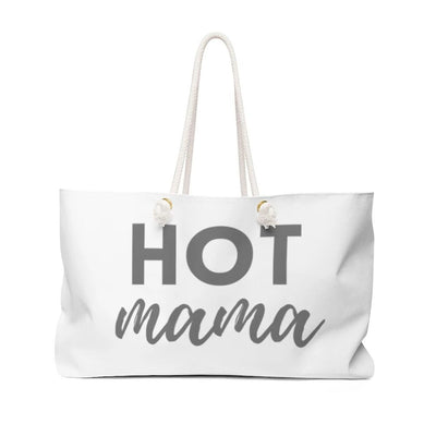 White tote bag with Hot Mama written in gray