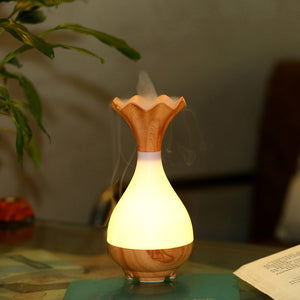 Wood Grain Vase Shape LED Light Aromatherapy Essential Oil Diffuser Humidifier