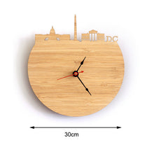 Load image into Gallery viewer, Washington Natural Bamboo Wall Clock