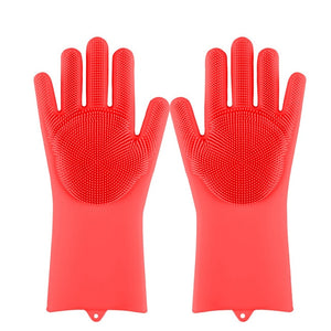 Lime Decor Dishwashing Scrubber Gloves - Red