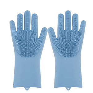 Lime Decor Dishwashing Scrubber Gloves - Blue