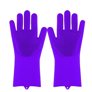 Lime Decor Dishwashing Scrubber Gloves - purple