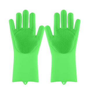 Lime Decor Dishwashing Scrubber Gloves - Greent