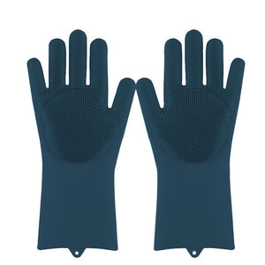 Lime Decor Dishwashing Scrubber Gloves - Deep Blue
