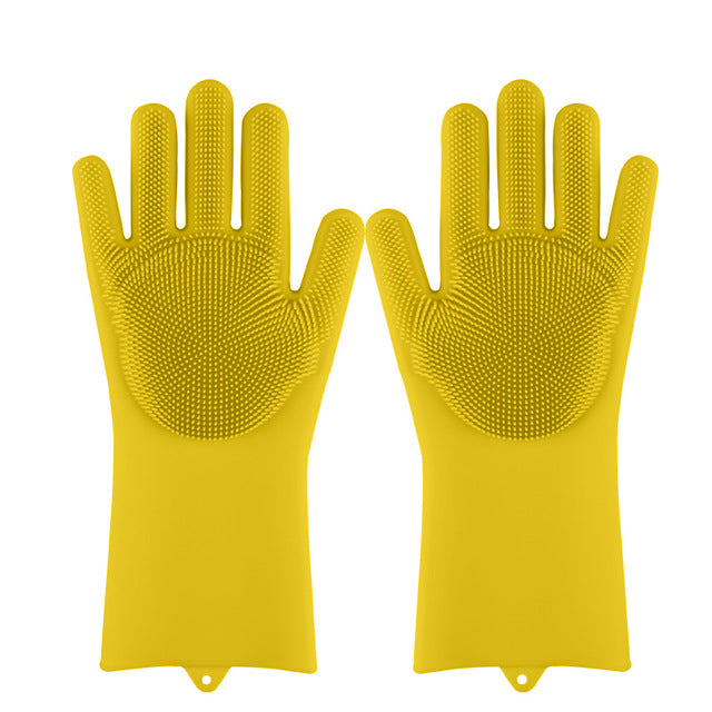Lime Decor Dishwashing Scrubber Gloves - Yellow