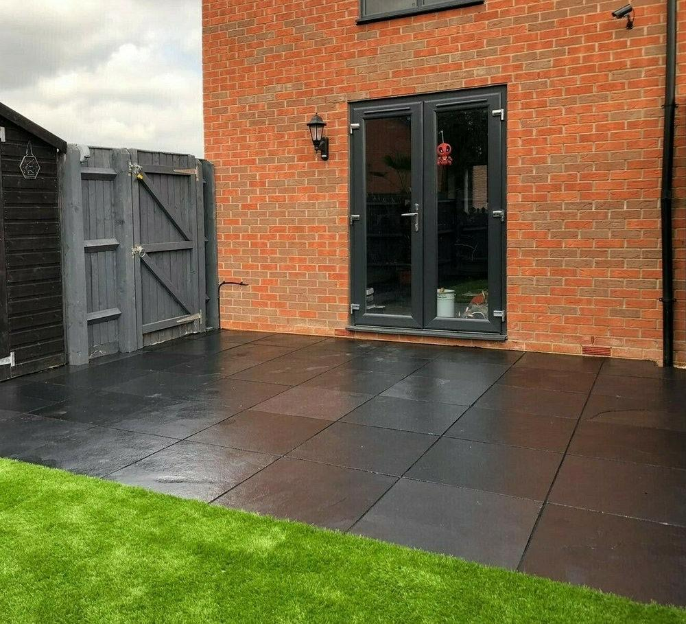 black limestone patio paving
