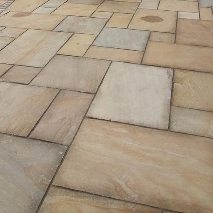 Rippon Buff Indian Sandstone Paving Slabs 22mm Calibrated, 900x600