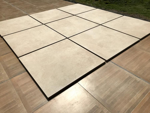 beige porcelain paving slabs