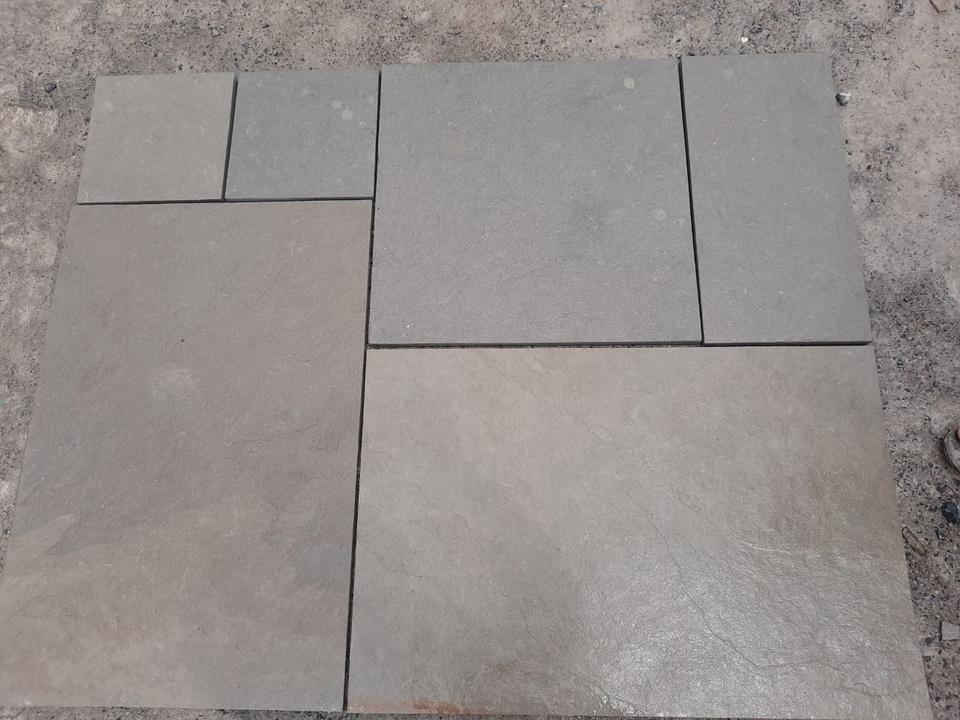 dove grey limestone paving mixed sizes