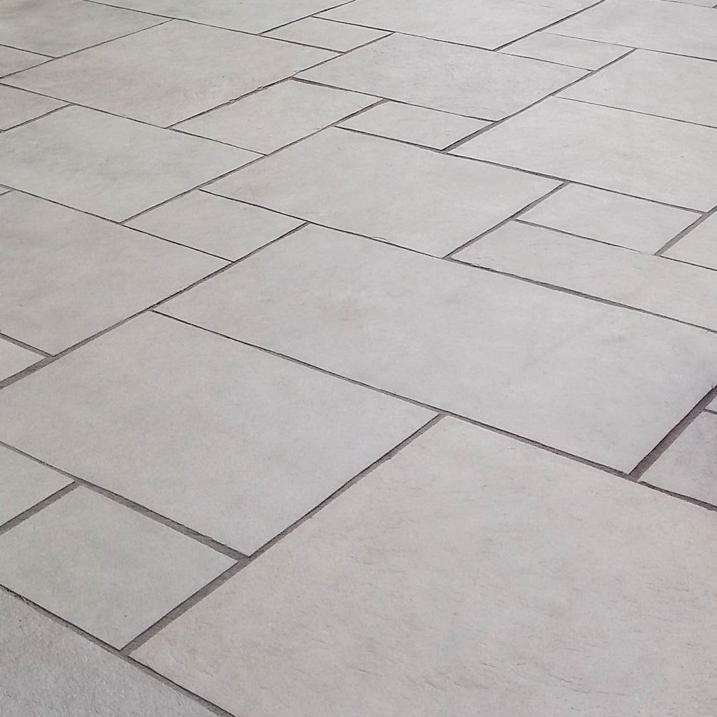 dove grey limestone paving patio slabs