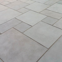 Dove grey limestone paving slabs