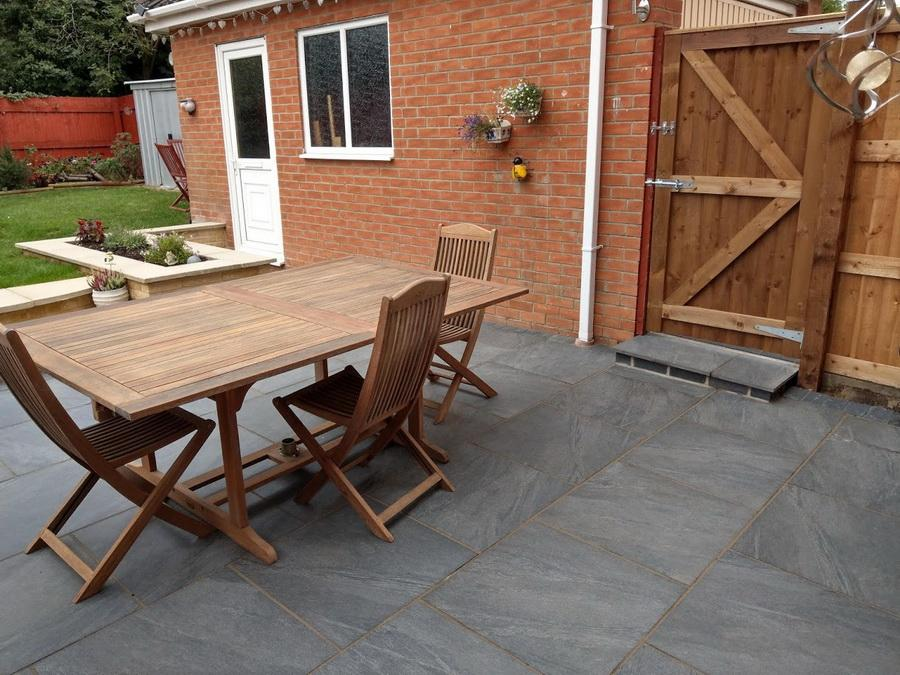 porcelain paving anthracite patio slabs