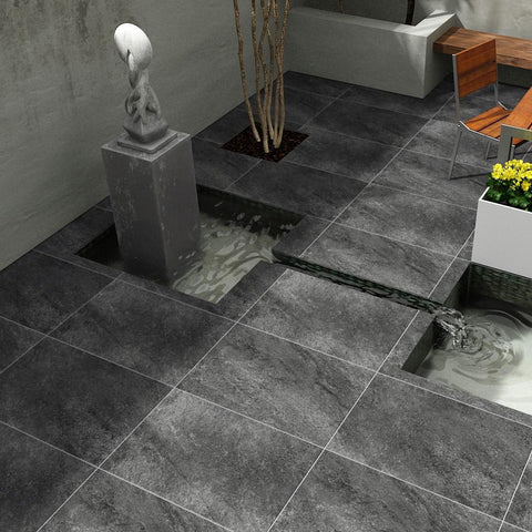 vitrified porcelain paving hammerstone black 600x600