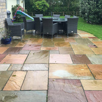 raj blend sandstone patio paving