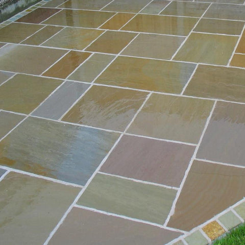 Raj green sandstone paving