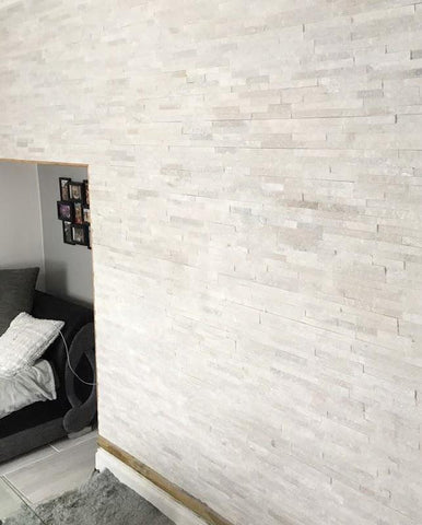 stone wall cladding white quartz