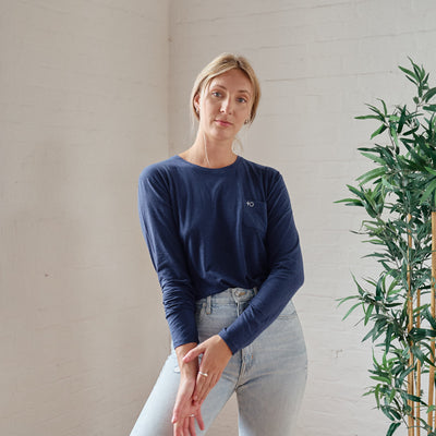 Bamboo Basic Long Sleeve - Ocean Blue - PositiveOutlook