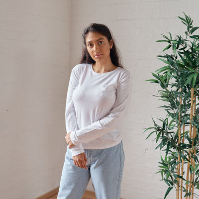Bamboo Basic Long Sleeve - White - PositiveOutlook