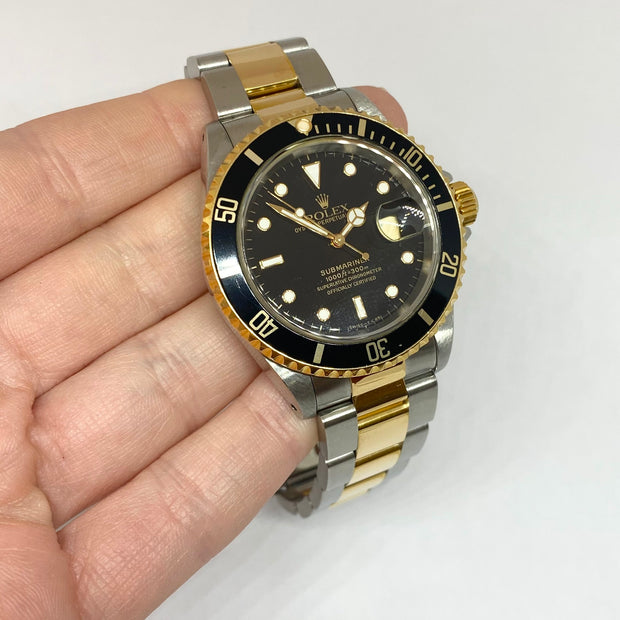 Pre-Owned Rolex Submariner Black Dial and Bezel Steel 18KY 16613 1997 Box/Papers