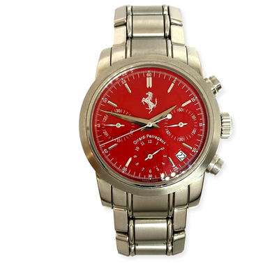 Pre-Owned Men's Girard Perregaux Chronograph Ferrari Steel Red 38mm Auto Watch