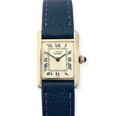 Cartier Small Must Tank Sterling Silver Watch on Navy Leather Strap