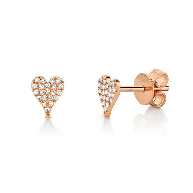 Mark Areias Jewelers Jewellery & Watches 0.10CT 14K ROSE GOLD DIAMOND PAVE HEART STUD EARRING