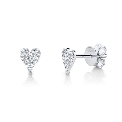Mark Areias Jewelers Jewellery & Watches 0.10CT 14K WHITE GOLD DIAMOND PAVE HEART STUD EARRING