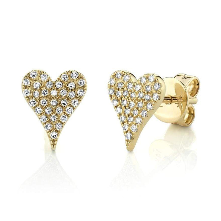 Mark Areias Jewelers Jewellery & Watches 0.14CT 14K YELLOW GOLD DIAMOND PAVE HEART STUD EARRING