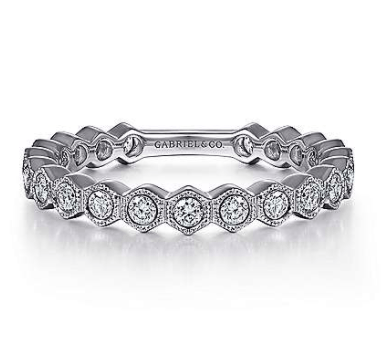 Mark Areias Jewelers Jewellery & Watches 14K White Gold Hexagonal Station Stackable Diamond Band
