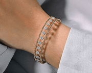Mark Areias Jewelers Jewellery & Watches 14K Yellow Gold Bujukan Bead Cuff Bracelet with Pave Diamond Connectors