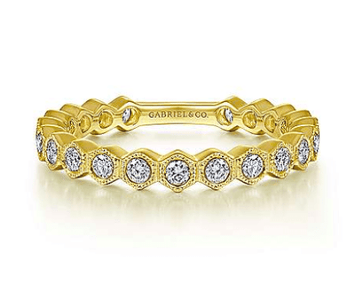 Mark Areias Jewelers Jewellery & Watches 14K Yellow Gold Hexagonal Station Stackable Diamond Band