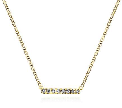 Mark Areias Jewelers Jewellery & Watches 14K Yellow Gold Petite Pave Diamond Bar Necklace