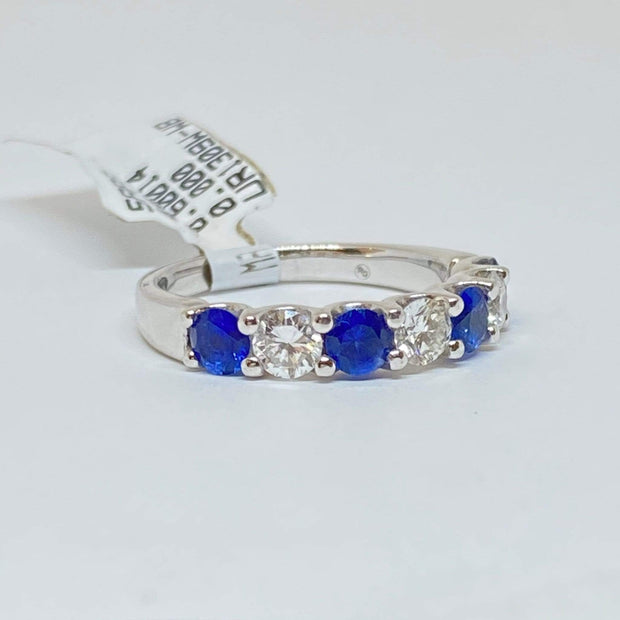 Mark Areias Jewelers Jewellery & Watches Alternating Round Blue Sapphire and Diamond Shared Prong Ring Band 14KW