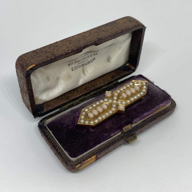 Mark Areias Jewelers Jewellery & Watches Angel Skin Coral and Seed Pearl Victorian Brooch Pin 18K Yellow Gold
