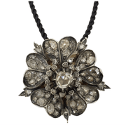 Mark Areias Jewelers Jewellery & Watches Antique Diamond Flower Pendant Brooch 6.95 Carats Silver & 18KY